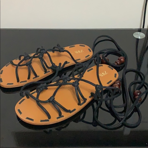 Zara tie around ankle lace strappy sandals